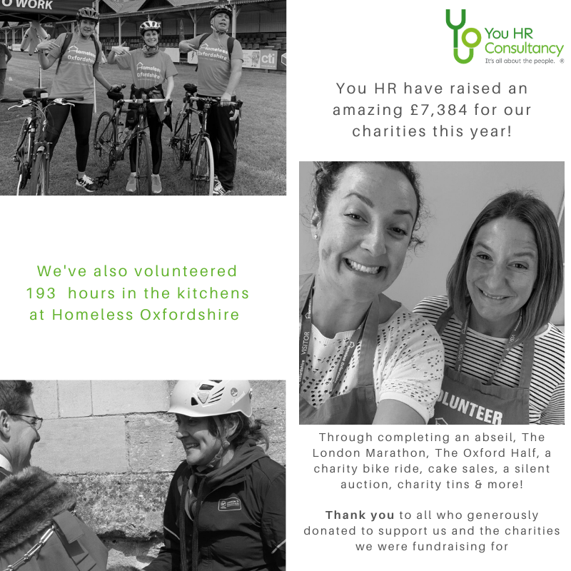 You HR raised an amazing £7,384 for our charities this year and volunteered 193 hours in the kitchens at Homeless Oxfordshire.