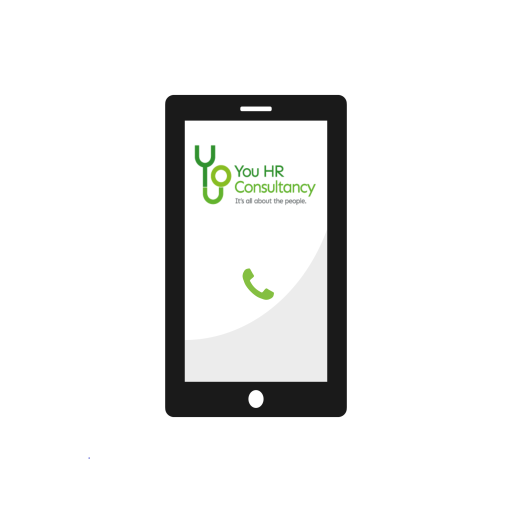 Smart phone with You HR Logo